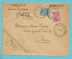 """138+141 op brief """"Armee Belge / Service de Sante"""" aangetekend met stempel PMB 8 op 12/2/18, strookje H.M.B. BONSECOURS !"""