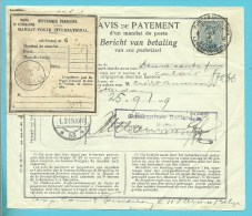 """141 op """"AVIS DE PAYEMENT /d'un mandat de poste"""" met stempel PMB op 30/1/19 via Calais -> Rotterdam (2 Piece connu)!Rare!"""