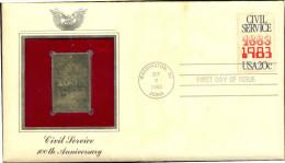 GOLD STAMP REPLICA COVER-CIVIL SERVICE-USA-1983-FDC-SCARCE-GC-46 - Etats-Unis