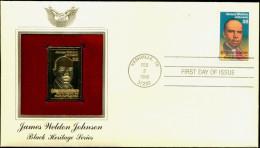 GOLD STAMP REPLICA COVER-JAMES WELDON JOHNSON-USA-1988-FDC-SCARCE-GC-36 - Etats-Unis