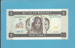 ERITREA - 1 NAKFA - 24.05.1997 - Pick 1 - UNC. - Watermark: Camel's Head - 2 Scans - Erythrée