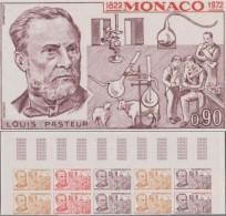 Monaco 1972 Y&T 913. Bloc De 10, Essais De Couleurs. Louis Pasteur. Pasteur Et Ses Découvertes : Vache, Mouton,... - Louis Pasteur