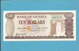 GUYANA - 10 DOLLARS - ND ( 1989 ) Sign. 7 - Pick 23.d - UNC. - 2 Scans - Guyana