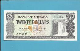 GUYANA - 20 DOLLARS - ND ( 1989 ) Sign. 7 - Pick 24.d - UNC. - 2 Scans - Guyana
