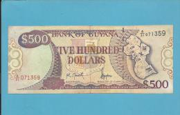GUYANA - 500 DOLLARS - ND ( 1992 ) Sign. 10 - Pick 29.c - 2 Scans - Guyana