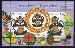 Tajikistan 2004.Year Of The Monkey,fruit,M/S MNH - Tadjikistan
