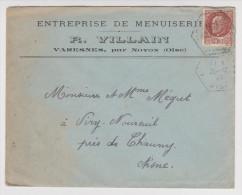 ENVELOPPE 1943 ENTREPRISE DE MENUISERIE R. VILLAIN VARESNES PAR NOYON AISNE (02) - 2 Scans - - Vieux Papiers
