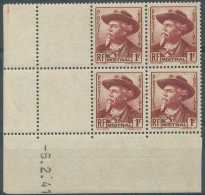 N° 495, 1f Brun Carminé, Frédéric Mistral, En Bloc De 4 Et Coin Daté. - France