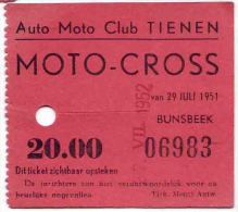 MOTO CROSS De TIENEN TIRLEMONT 1951 - Tickets D'entrée