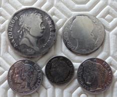 LOT 5 MONNAIES  - 2 FRANC 1812 A - 1/10 ECU 1740 W - 20 CTS 1850 A -2 X 1895 A  ARGENT SILVER - 987-1789 Monete Reali