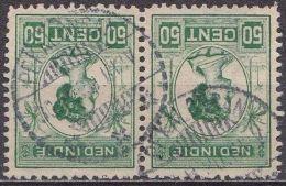 Ned. Indië: Langebalkstempel PEKALONGAN Op 1913-31 Koningin Wilhelmina 50 Cent  Groen Paartje NVPH 129 A - Indes Néerlandaises