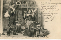 CPA : Lot De 7 CPA (manque Le 7ème Couplet) : LES CHANSONS DE BOTREL Illustrées Par E. Hamonic : Le Fil Cassé - Bretagne