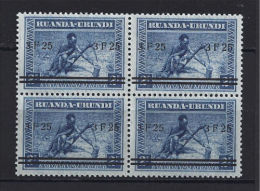 Ruanda Urundi - 117 - Block Of 4 - Meulemans - Overprint - 1941 - MNH - CV : 220€ - Ruanda-Urundi