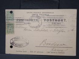 FINLANDE -Entier Postal Voyagé Pour Bordeaux En 1912  à Voir    P4731 - Finland