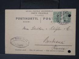 FINLANDE -Entier Postal Voyagé Pour Bordeaux En 1912  à Voir    P4732 - Finland