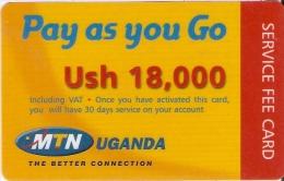 TARJETA DE UGANDA DE MTN DE USH 18000 (PAY AS YOU GO) - Uganda