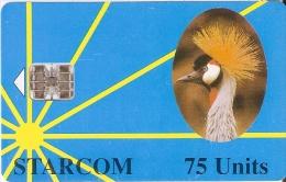 TARJETA DE UGANDA DE STARCOM DE 75 UNITS DE UNA GRULLA CORONADA (BIRD-PAJARO) - Uganda