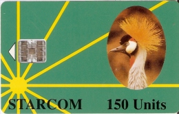 TARJETA DE UGANDA DE STARCOM DE 150 UNITS DE UNA GRULLA CORONADA (BIRD-PAJARO) - Uganda