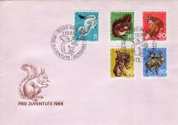 Switzerland - Pro Juventute 1966. Wild Animals Set On FDC - Francobolli