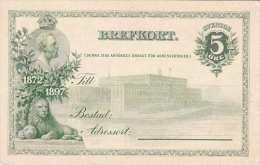 SCHWEDEN 1897 - 5 Öre Lthographische Ganzsache **, Auf Rückseite Etwas Fleckig
