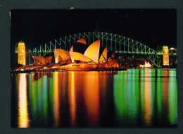 AUSTRALIA  -  Sydney  Opera House And Harbour Bridge At Night  Used Postcard As Scans - Sydney