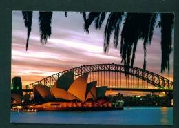 AUSTRALIA  -  Sydney  Opera House And Harbour Bridge At Dusk  Used Postcard As Scans - Sydney