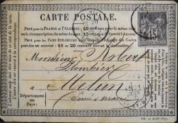 SAGE N° 77 - CARTE POSTALE ENTIER PRECURSEUR ( 739 Avril 1877) - DEPART DE PARIS A DESTINATION DE MELUN - Postal Stamped Stationery