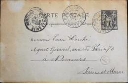 1866 - Sage - ENTIER POSTAL - CARTE POSTALE - Moret-sur-Loing 02.09.1896 - Standard Postcards & Stamped On Demand (before 1995)