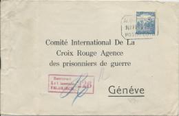 HONGRIE - 1918 - ENVELOPPE ENTIER RECOM CENSUREE Pour L´AG DES PRISONNIERS DE GUERRE GENEVE - CROIX-ROUGE - Marcophilie