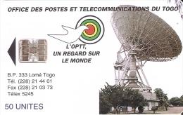 TARJETA DE TOGO DE 50 UNITES DE UNA ANTENA PARABOLICA PARA SATELITES (SATELLITE) - Togo