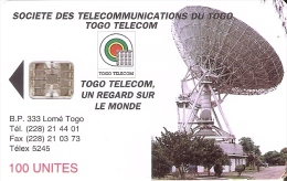 TARJETA DE TOGO DE 100 UNITES DE UNA ANTENA PARABOLICA PARA SATELITES (SATELLITE) - Togo