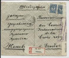 RUSSIE - 1916 - ENVELOPPE Avec CENSURE De TROÏTSK Pour L´AG DES PRISONNIERS DE GUERRE GENEVE - CROIX-ROUGE
