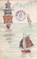 Belle CPA Illustrée  Montage  COLLAGE De TIMBRES BATEAUX  VOILIERS En MER Oblitération 1909 - Timbres (représentations)