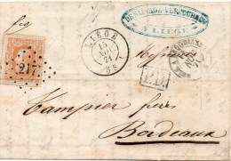 N°33 Sur Lettre De Liege Pour Bordeaux Cachet Ambulant - 1869-1883 Léopold II