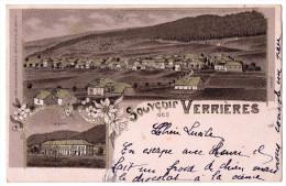""""""" Souvenir Des VERRIERES - La Gare , Vue Générale """" TRES RARE - 1901 - NE Neuchâtel"""