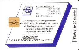 TARJETA DE BENIN DE ECOBANK DE 30 UNITES Y TIRADA 10000 - Benin