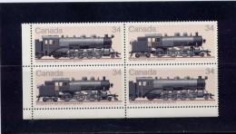Canada, 1985, # 1072a,  Canadian Locomotives (1906-1925) -- 3,   BLOCK  MNH LL - Blocks & Sheetlets
