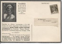 TP 337 Roulette BXL 1935 S/CP Publicitaire Pour Les TP De La Reine Astrid  V.Gand PR2103 - Roller Precancels 1930-..