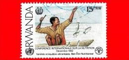 RWANDA - Usato - 1992 - Conferenza Internazionale Sulla Nutrizione, Roma - FAO - Pescatore - ONU - 15 - Rwanda