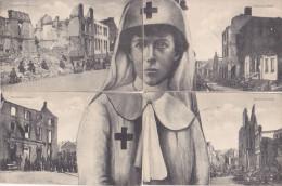 """WO I - Koningin ASTRID - Verpleegster in """"Geteisterd BELGIE"""" - ZELDZAME puzzle (4 krt) - verz 1915 in SM - RARE !!"""