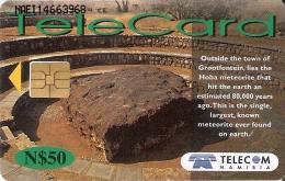 NMB-188 TARJETA DE NAMIBIA DE HOBA METEORITE DE N$50 METEORITO (RARA)