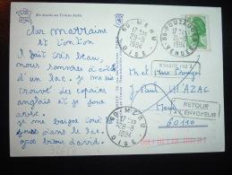 CP TP LIBERTE DE GANDON 1,70  OBL. 21-8-1984 POUZAUGES (85 VENDEE) - Manual Postmarks