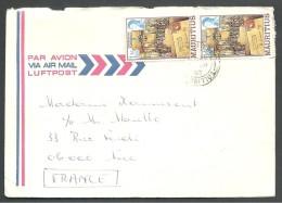 ! - 1982 - 2 Timbres Sur Lettre (obl) - De Ile Maurice (Saint-Pierre) Vers France (Nice) - Par Avion - Maurice (1968-...)