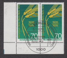 Berlin Michel Nr. 516 Mit Plattenfehler Philotax BF 41  - Gestempeltes Eckrandpaar - Berlin (West)