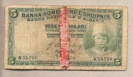 Albania - Banconota Circolata Da 5 Franchi - Occupazione Italiana - Albania