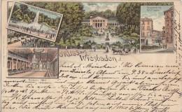 Litho Gruss Aus Wiesbaden Gelaufen 12.9.1898 - Wiesbaden