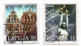 2000 Latvia Lettland Lettonie Liberty Monument + OLD HOUSE  Used Stamp (0) - Latvia