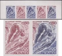 Monaco 1976 Y&T 1057. Bande De 5, Essais De Couleurs. Jeux Olympiques De Montréal. Plongeon De Haut Vol - High Diving