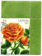 Latvia  - ROSE  - Flower  2011 Y  ROSES  - USED Stamp (o) + !!! CORNER , BORDER !!! VARIANT -1 - Latvia