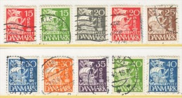 DENMARK  238 A-J  Type  II     (o)   1933-40  Issue - Used Stamps